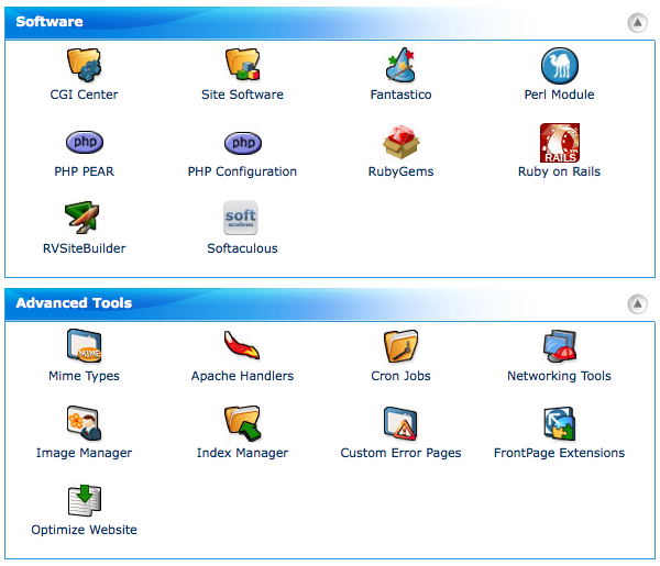 cPanel Software and Advanced Tools