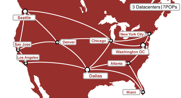 Datacenter Network Information NextGen Web Hosting - Bandwidth speeds us map